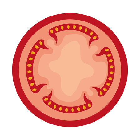 mexican food plate: red slice of tomato front view over isolated background,vector illustration