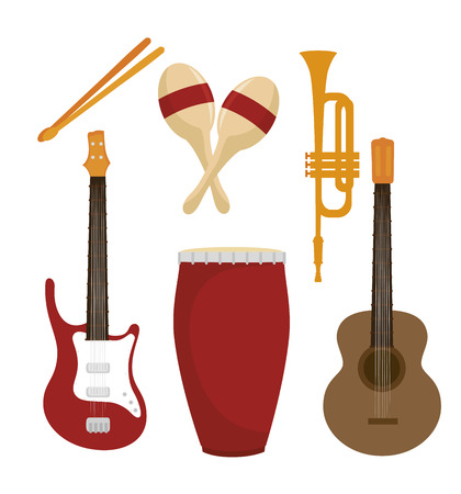 bass player: set the musical instruments isolated icon design, vector illustration  graphic