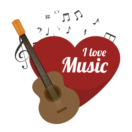 love music: love music with guitar isolated icon design, vector illustration  graphic Illustration