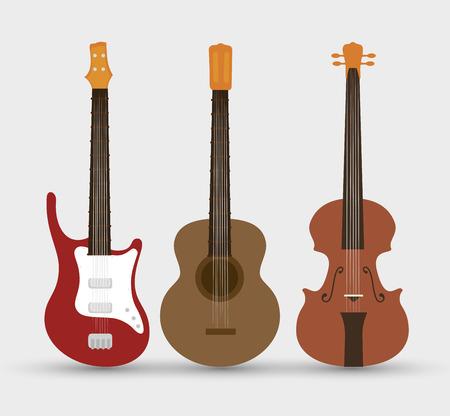 弦楽器セット分離アイコン デザイン、ベクトル イラストレーション グラフィック  イラスト・ベクター素材