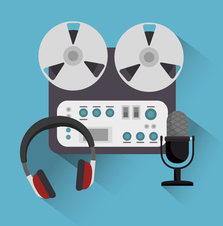acoustic systems: set the music industry devices isolated icon design, vector illustration  graphic Illustration