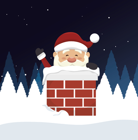 chimney: santa claus in chimney  isolated icon design, vector illustration  graphic