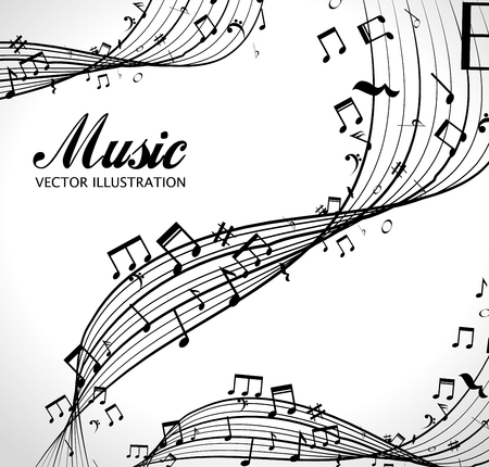 sonata: poster with musical notes isolated icon design, vector illustration  graphic