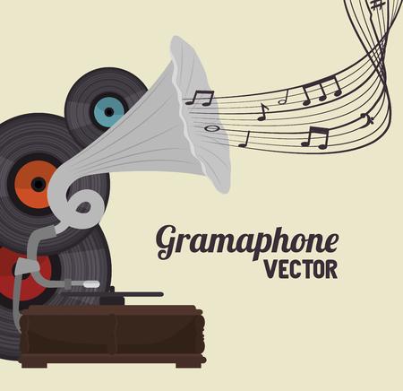 antiguo gramófono aislado icono del diseño, ejemplo gráfico del vector Ilustración de vector