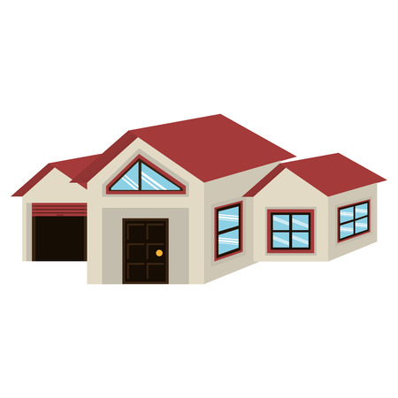 grey house: big grey house with brown door and garage blue windows and red roof over isoalted background,vector illustration