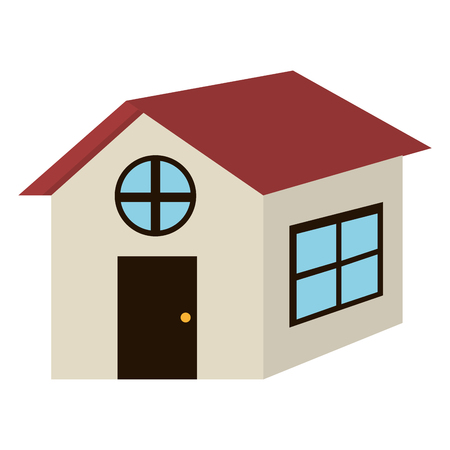 grey house: grey house with blue windows and red roof side view over isolated background,vector illustration Illustration