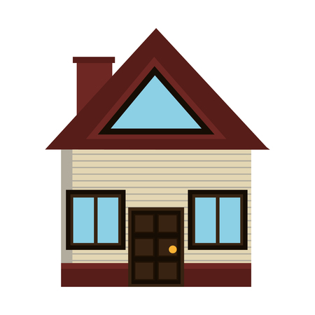 grey house: grey house icon with brown door and roof front view over isolated background,vector illustration