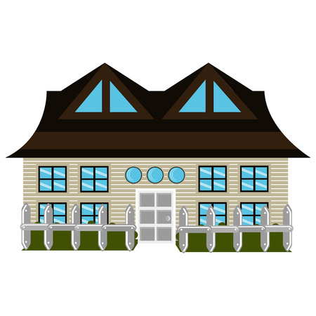 white door: grey house icon with grey and white door and brown roof green garden front view over isolated background,vector illustration