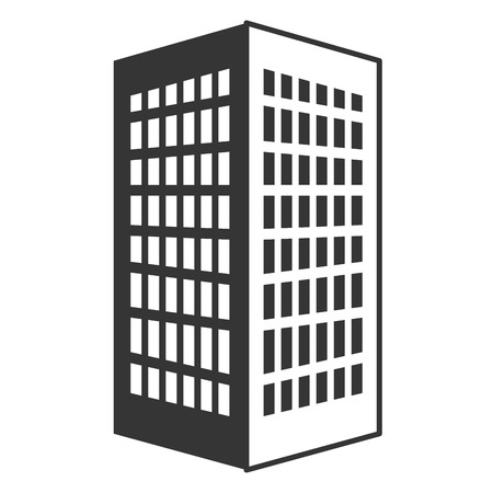 tall building: black tall building with white windows over isolated background, construction city concept,vector illustration