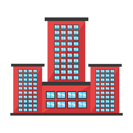 tall building: red tall building with white and bluew windows over isolated background, construction city concept,vector illustration