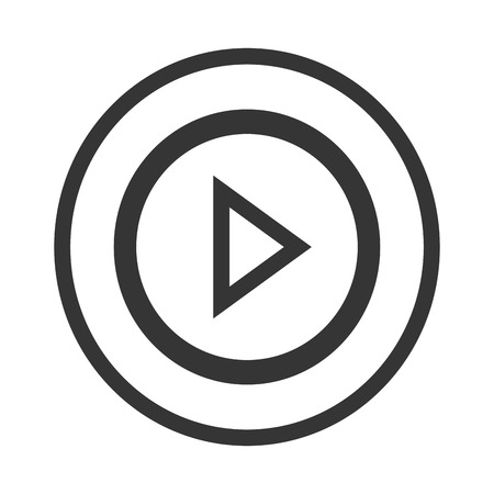 button front: black and white play button with black circles front view over isolated background,vector illustration