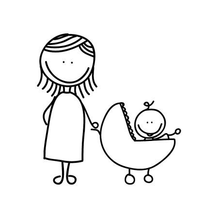 mère avec un bébé dessin isolé icône du design, vecteur illustration graphique