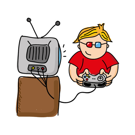 gamer: gamer playin video game isolated icon design, vector illustration  graphic