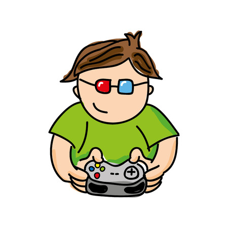 gamer playin video game isolated icon design, vector illustration  graphic