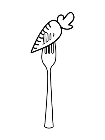 carrot isolated: fork with carrot  isolated icon design, vector illustration  graphic