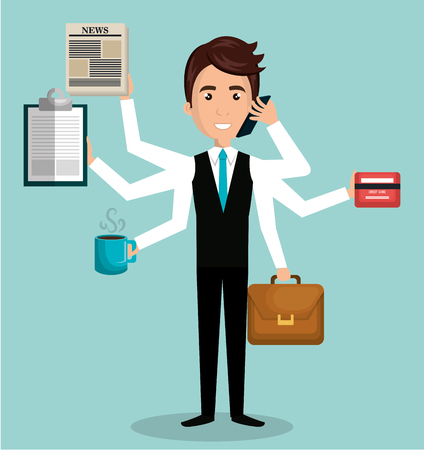 busy person: busy person design, vector illustration eps10 graphic
