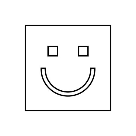 shapes cartoon: happy face square isolated icon design, vector illustration  graphic