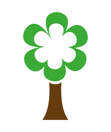 tree isolated: ecological tree with flower isolated icon design, vector illustration  graphic