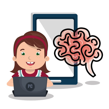 girl laptop: girl studying online isolated icon design, vector illustration  graphic