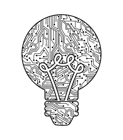 halogen: bulb with circuit isolated icon design, vector illustration  graphic Illustration