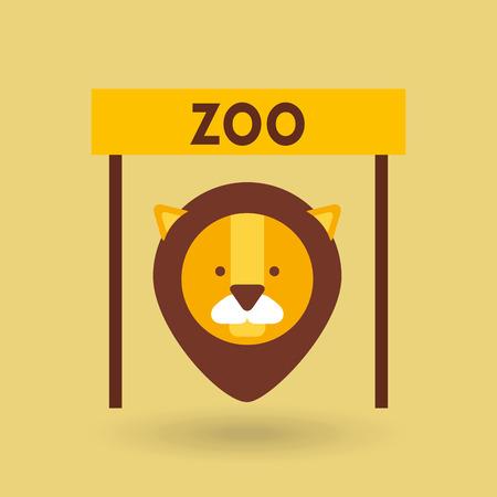 leon de dibujos animados: animales del zoológico de diseño, ejemplo gráfico del vector eps10