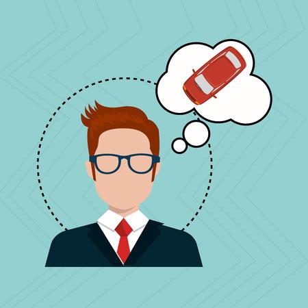 person thinking: businessman thinking car design, vector Illustration