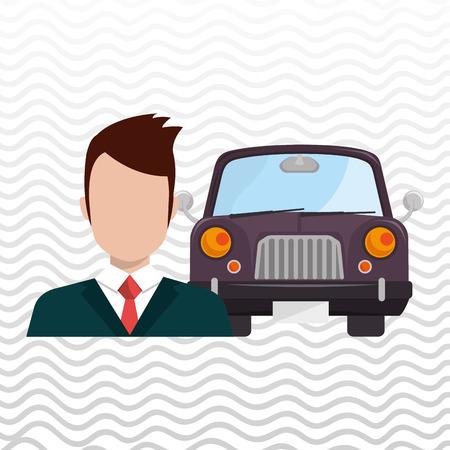 dealership: car salesman design, vector illustration