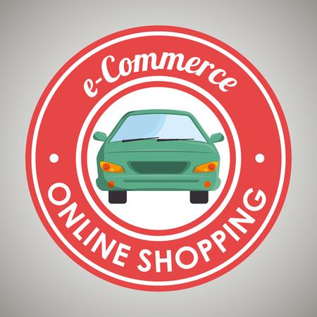 sticker design: online car sale design, vector illustration Illustration