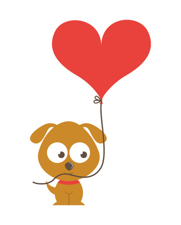 baby isolated: cute dog character with balloon air isolated icon design, vector illustration  graphic Illustration