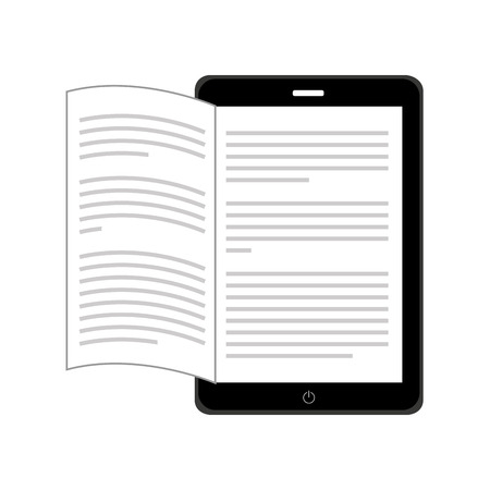 read magazine: electronic book in tablet isolated icon design, vector illustration  graphic
