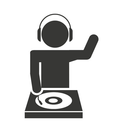 disk jockey: disk jockey  silhouette isolated icon design, vector illustration  graphic