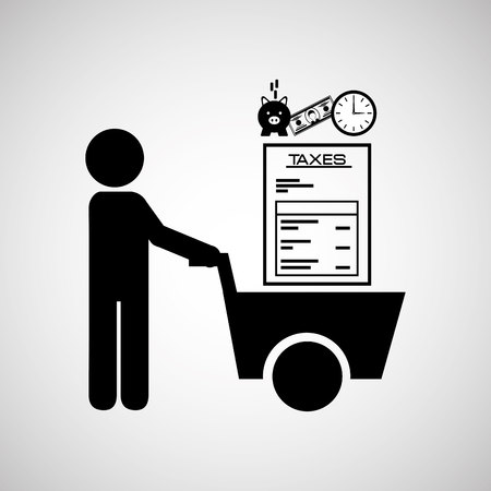 taxed: tax time design, vector illustration graphic