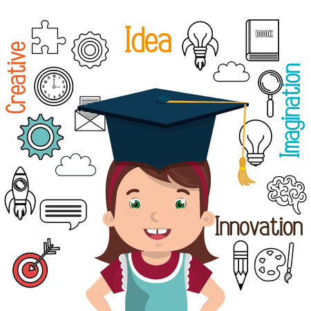 innovating: girl studying isolated icon design, vector illustration graphic Illustration