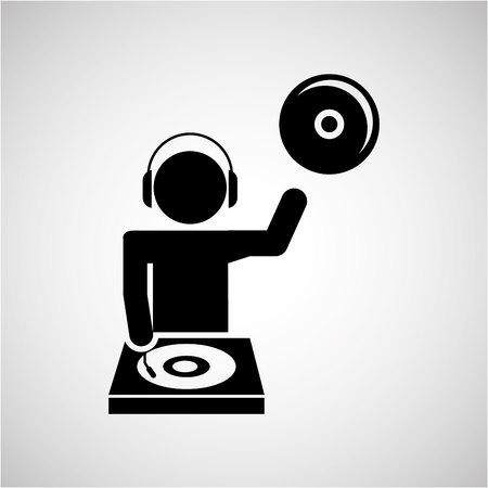 disk jockey: dj icon silhouette design, vector illustration eps10 graphic