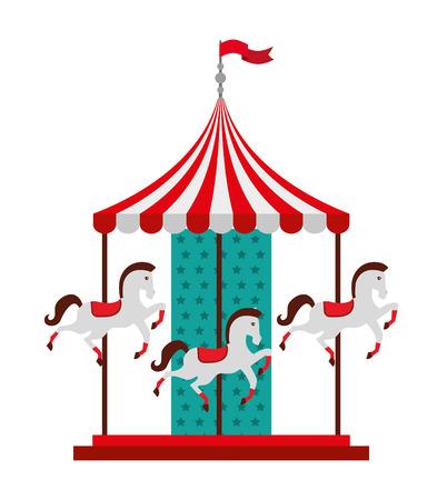 carrouselpaarden geïsoleerde pictogram ontwerp, vector illustratie grafische Stock Illustratie
