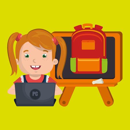 using laptop: Children using laptop at school design, vector illustration graphic