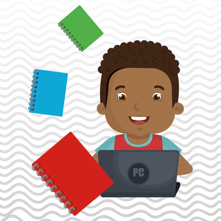 using laptop: Children using laptop at school design, vector illustration graphic