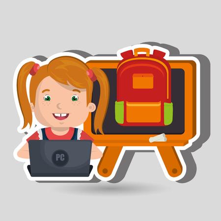 using laptop: Children using laptop at school design, vector illustration eps10 graphic