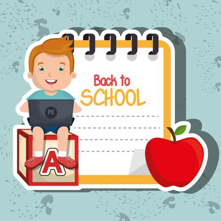 using: Children using laptop at school design, vector illustration eps10 graphic