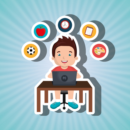 using laptop: Children using laptop at school design, vector illustration eps10 graphic