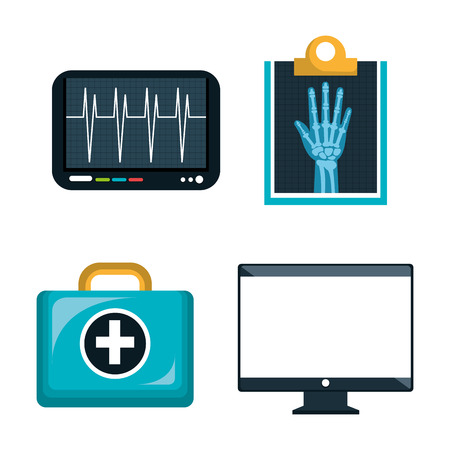 x ray machine: digital healthcare icons set  isolated  design, vector illustration  graphic
