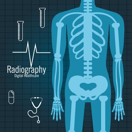 La radiografía de cuerpo entero icono de diseño, ejemplo gráfico del vector