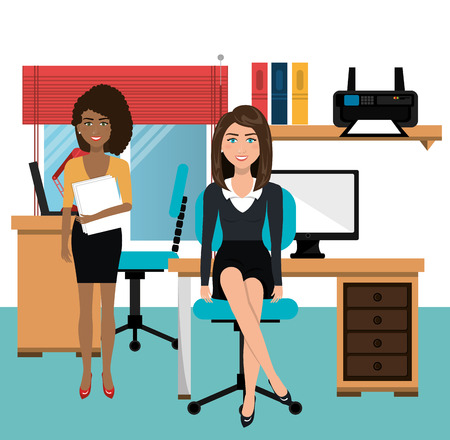 businesswomen: businesswomen in workspace isolated icon design, vector illustration  graphic