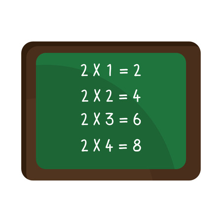 green board: green board with brown frame and white numbers front view over isolated background,school concept,vector illustration Illustration