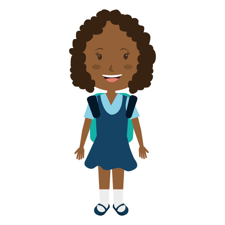 colorful dress: smiling school avatar little girl wearing colorful dress front view over isolated background,school concept,vector illustration Illustration