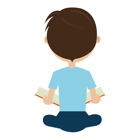 bue: school avatar boy wearing colorful bue clothes sitting  back side view  over isolated background,vector illustration