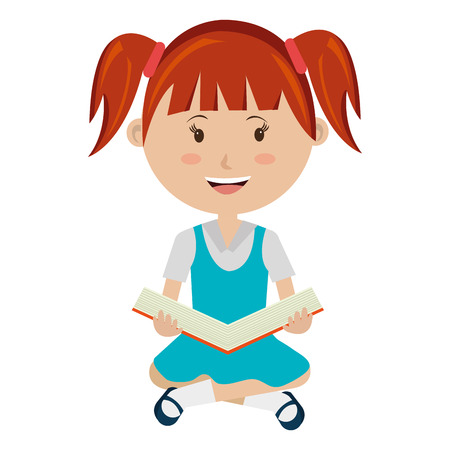 colorful dress: smiling school avatar little girl wearing colorful dress  and holding an open book front view over isolated background,school concept,vector illustration