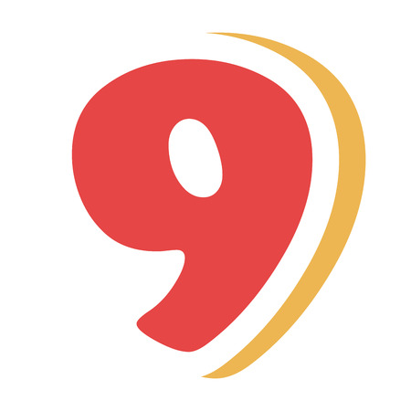 right side: red colorful nine number with yellow color on the right side front view over isolated background, school concept,vector illustration
