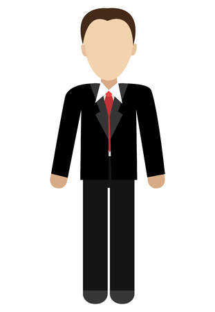 red tie: business avatar man wearing black suit and red tie front view over isolated background,vector illustration