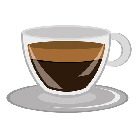 decaf: modern cup design with dark brown coffee front view over isolated background,vector illustration Illustration